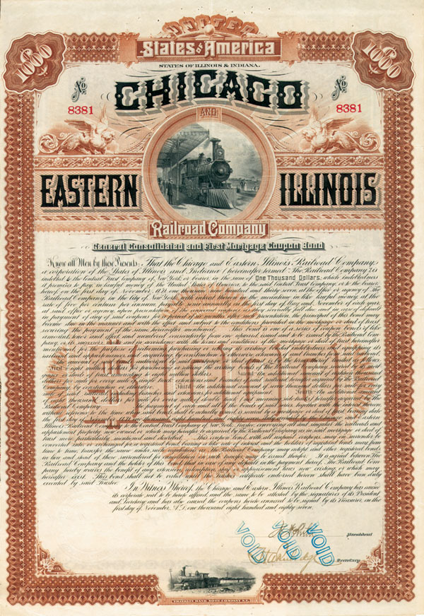 Chicago and Eastern Illinois Railroad Company - $1,000 Bond
