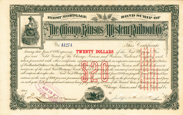Chicago, Kansas & Western Railroad - Bond