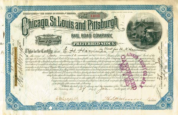 E. H. Harriman - Chicago, St. Louis & Pittsburgh Railroad - Stock Certificate