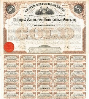 Chicago & Canada Southern Railway - Bond - SOLD