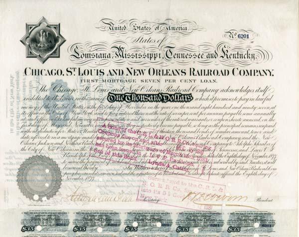 Stuyvesant Fish - Chicago, St. Louis and New Orleans Railroad - Bond (Uncanceled)
