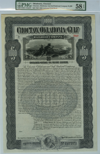 Choctaw, Oklahoma & Gulf Railroad $1000 Bond