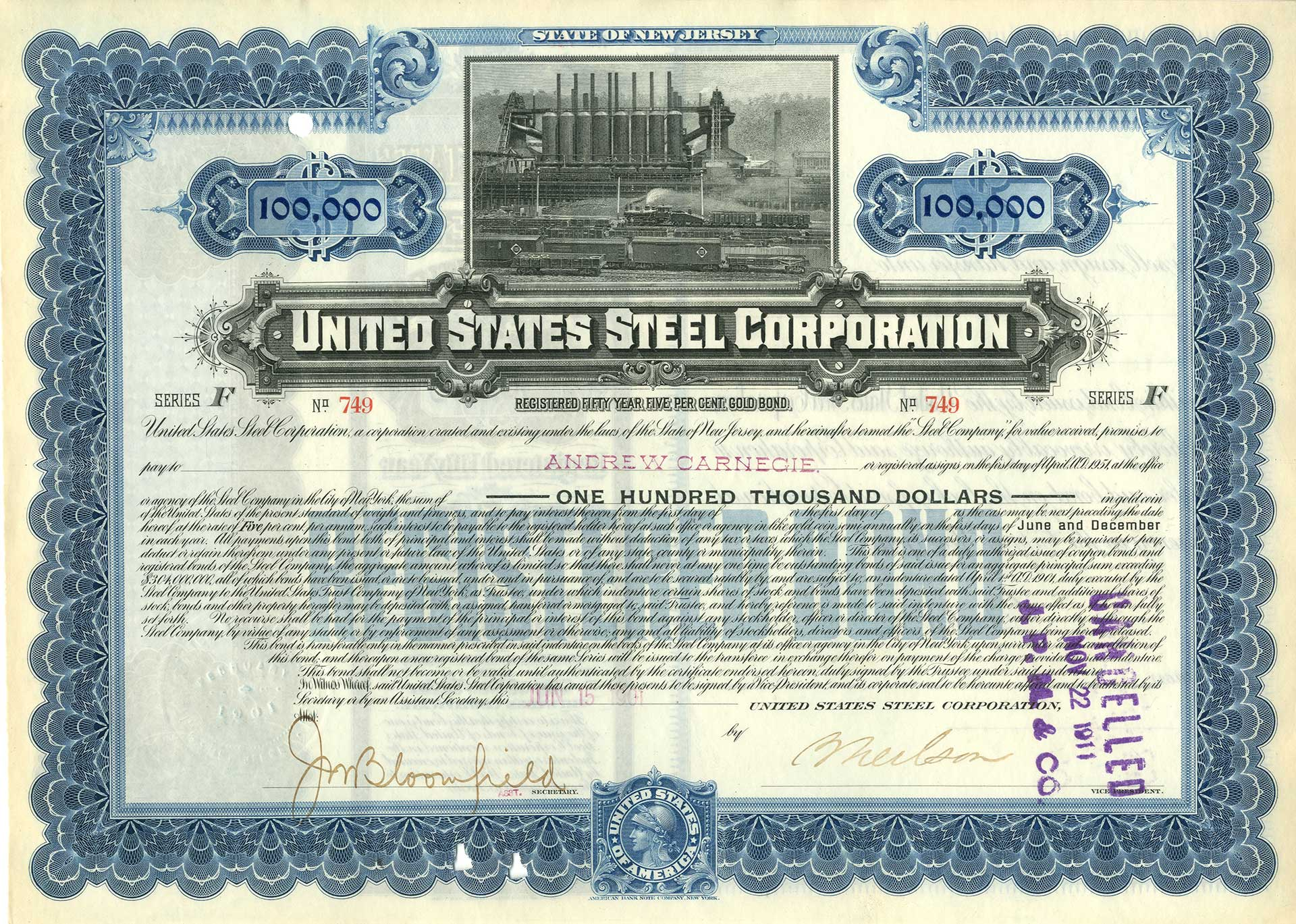 United States Steel Corp $100,000 Gold Bond Issued to Andrew Carnegie