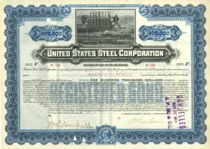 United States Steel Corp $100,000 Gold Bond signed by Andrew Carnegie