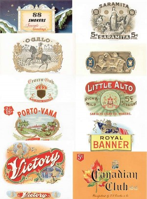 Collection of 10 Different Cigar Box Labels