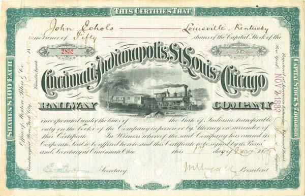 John Echols - Cincinnati, Indianapolis, St. Louis and Chicago - Stock Certificate