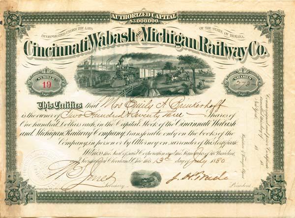 J. H. Wade autographed Cincinnati, Wabash & Michigan Railway Stock