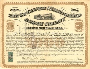 Cincinnati and Springfield Railway Company - $1,000 Bond