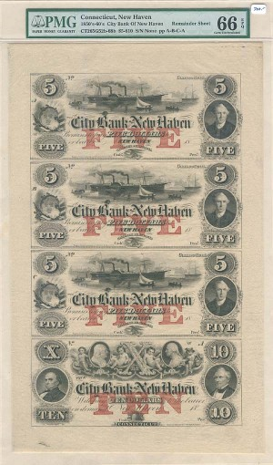 City Bank of New Haven - Uncut Obsolete Sheet - Broken Bank Notes - PMG Graded