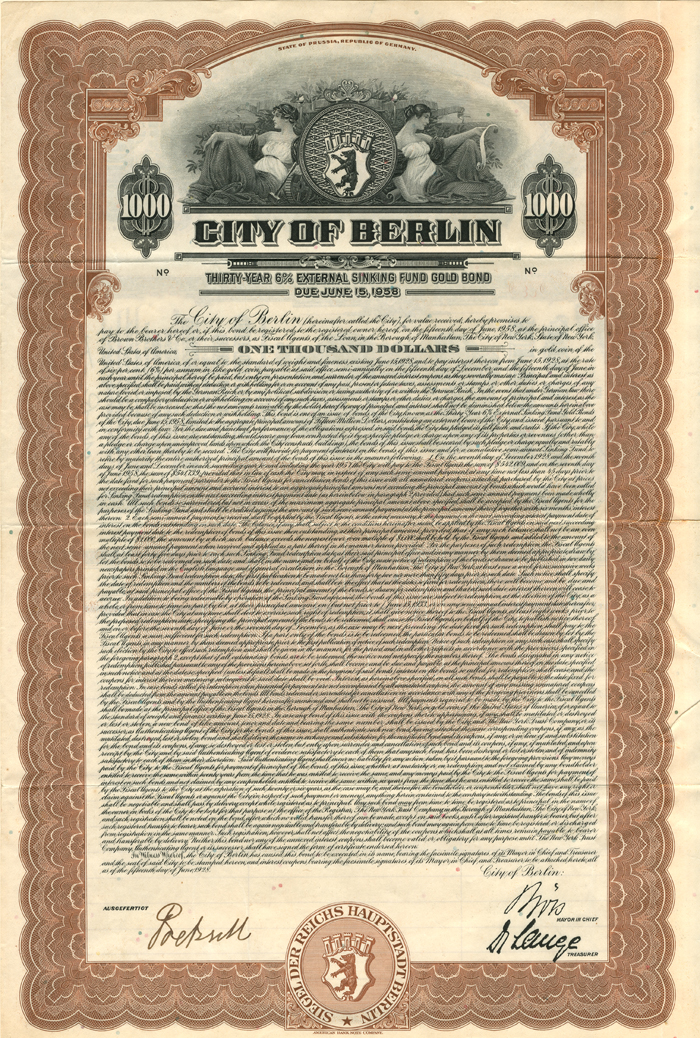 City of Berlin - PRICE UPON REQUEST
