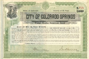 City of Colorado Springs Water Works Reservoir Bond - $1000