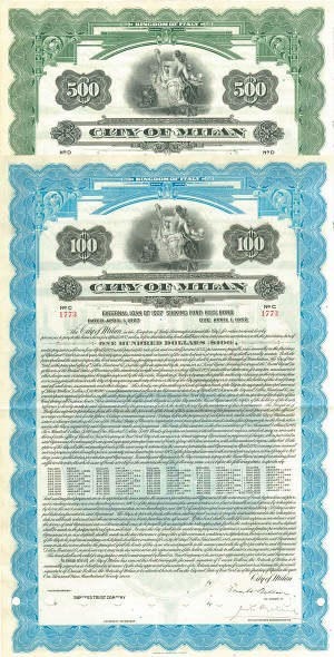 City of Milan Set of 2 Bonds