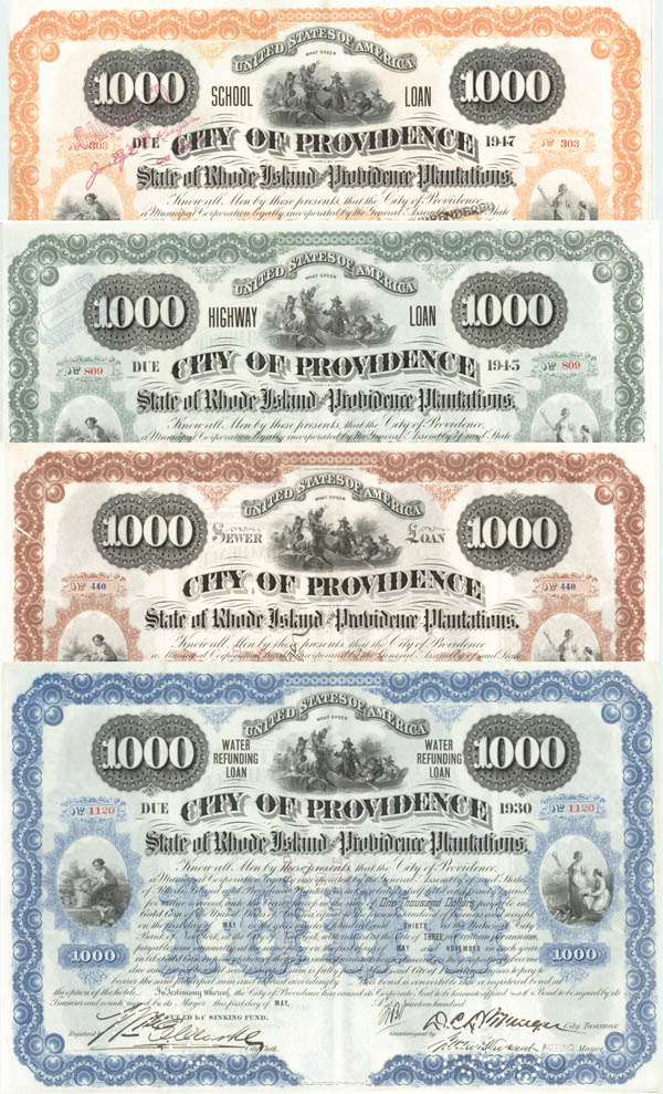 City of Providence Collection of 4 Bonds