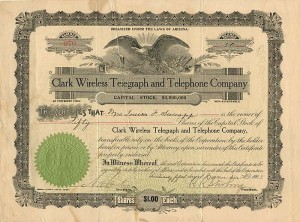 Clark Wireless Telegraph and Telephone Company - SOLD