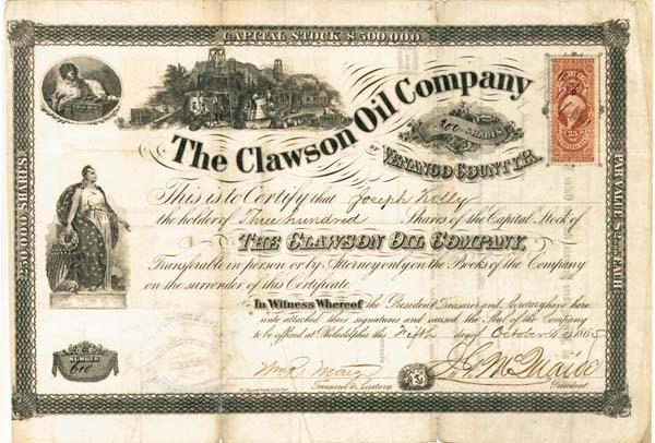 Clawson Oil Company - Stock Certificate