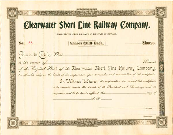 Clearwater Short Line Railway - Stock Certificate