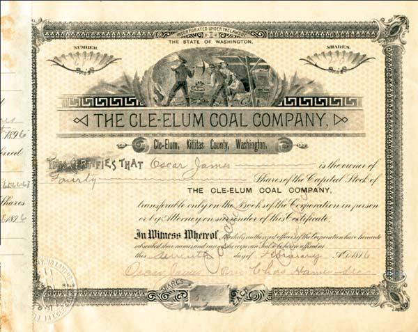 Cle-elum Coal Company - Stock Certificate