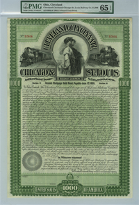 Cleveland, Cincinnati, Chicago & St Louis Railway $1000 Bond - SOLD
