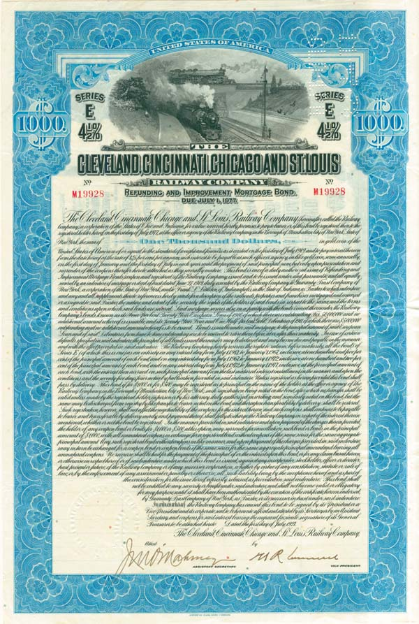 Cleveland, Cincinnati, Chicago & St. Louis Railway - Bond