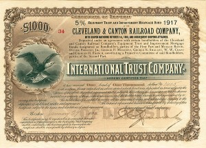 Cleveland and Canton Railroad 5% Equipment Trust and Improvement Mortgage Bond Certificate - SOLD