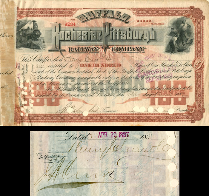 Buffalo, Rochester and Pittsburgh Railway Company signed by Henry and J.B. Clews - SOLD