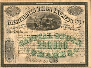 Merchants Union Express Co. Issued to H. Clews & Co.