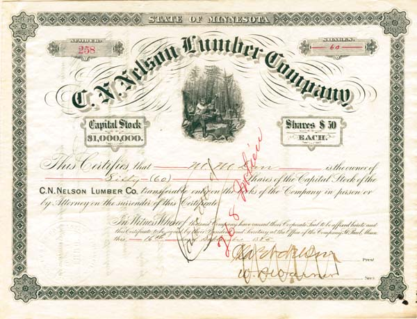 C. N. Nelson Lumber Company - Stock Certificate