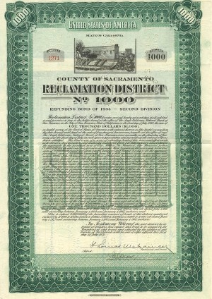 Reclamation District No. 1000 - $1,000 Bond - SOLD