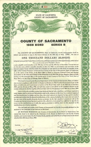 County of Sacramento - $1,000 Bond