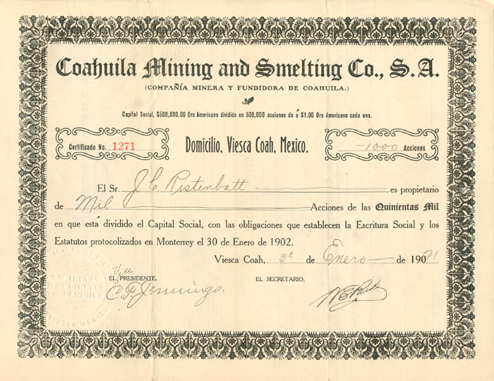 Coahuila Mining and Smelting Co., S.A.