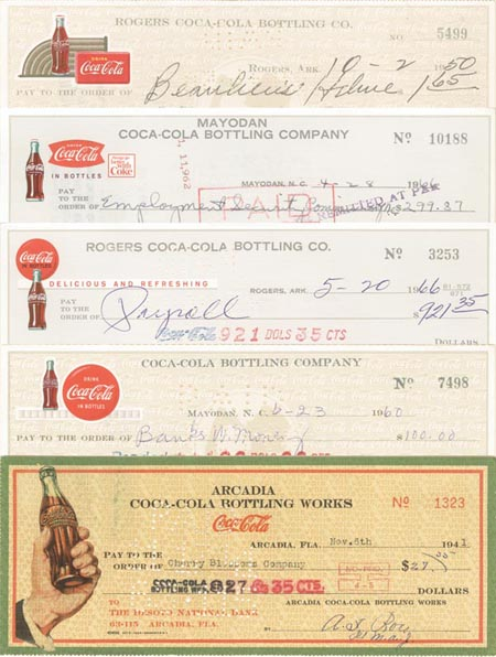 Coca-Cola Bottling Company Collection of Checks (Coke)