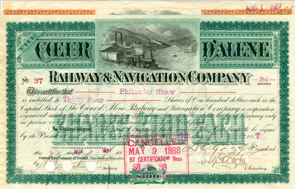 Coeur D'Alene Railway & Navigation Company - Stock Certificate