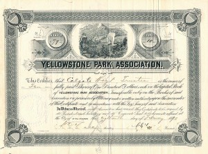 Yellowstone Park Association signed by Colgate Hoyt - Stock Certificate - SOLD