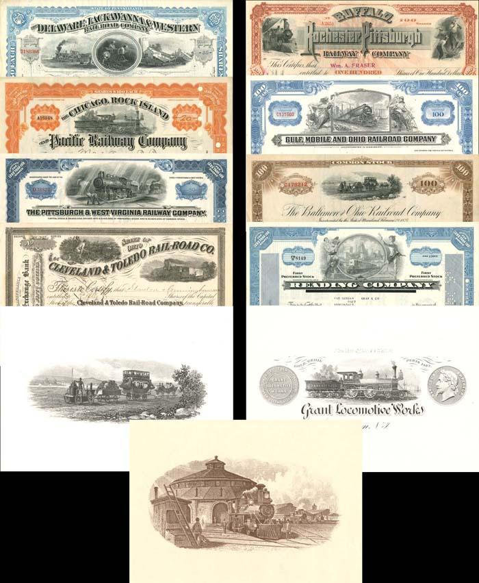 Collection of 8 Railroad Stocks and 3 Prints