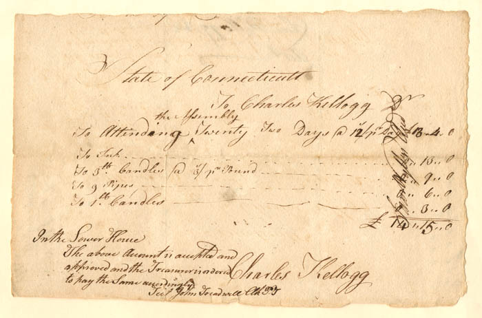 "Connecticut Currency - Pay Order for ""General Assembly"" - SOLD"