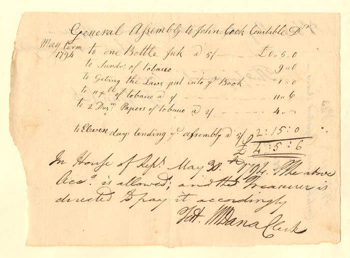 "Connecticut - Pay Order for ""General Assembly"""