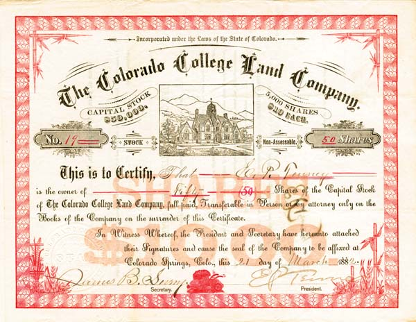Colorado College Land Co Stock signed by Edward Payson Tenney
