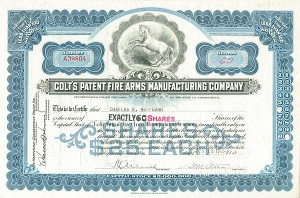 Colt's Patent Fire Arms Manufacturing Company - Stock Certificate
