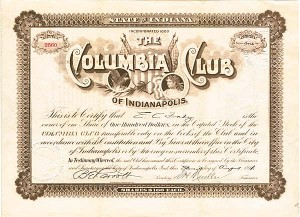 Columbia Club of Indianapolis - Stock Certificate