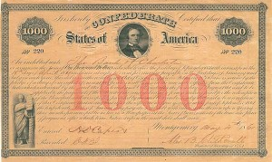 Confederate-Montgomery $1,000 Bond - SOLD