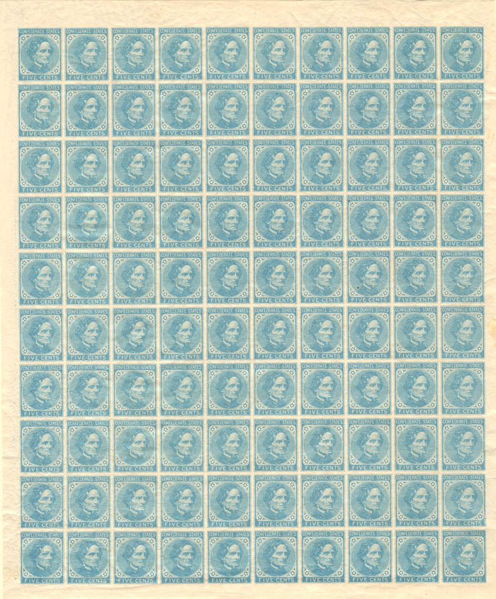 Uncut Confederate Stamp Sheet - SOLD