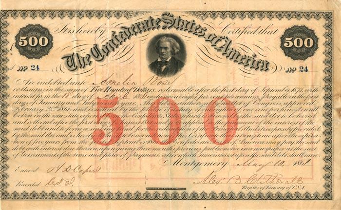$500 Confederate States of America - SOLD