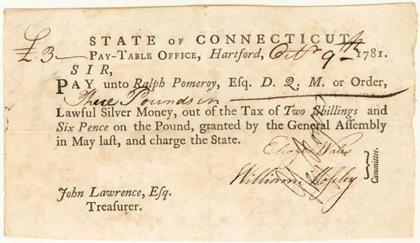 Connecticut Revolutionary War Document - Other Similar Items Available