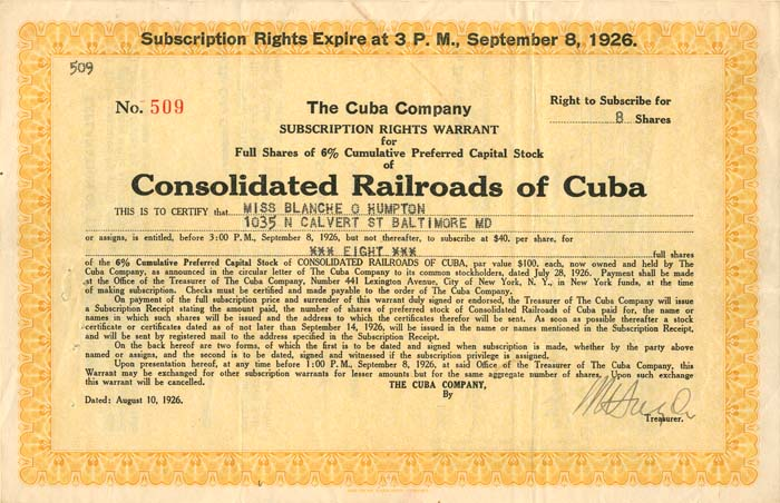 Consolidated Railroads of Cuba - SOLD