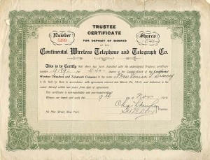 Continental Wireless Telephone and Telegraph Co.- SOLD