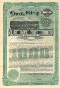 Cook Inlet Coal Fields Company $1000 Bond - SOLD
