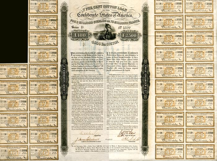 Confederate Cotton Loan Bond signed by John Slidell - £100