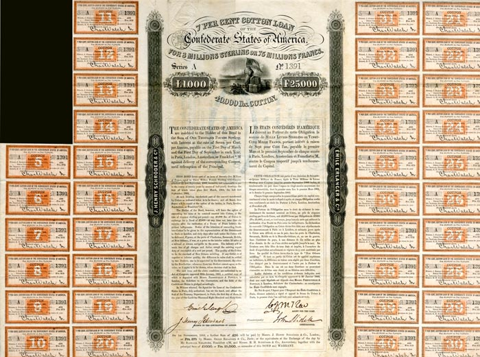 Confederate Cotton Loan Bond signed by John Slidell - £1000