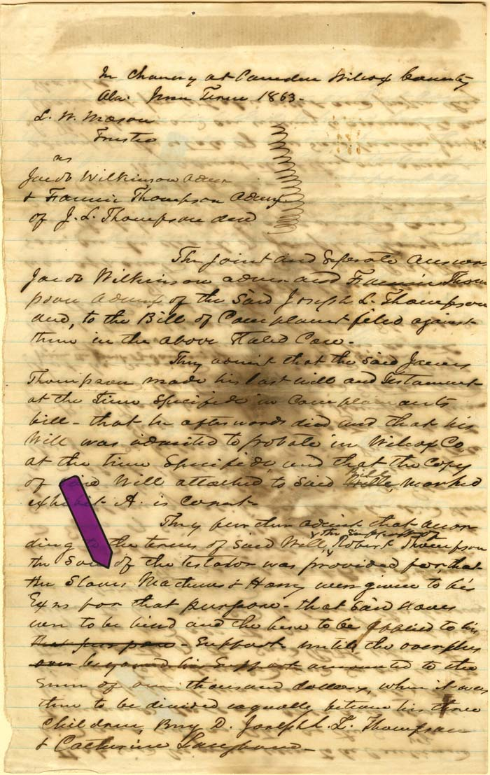 Court Case Dealing with Slaves - Slave Document