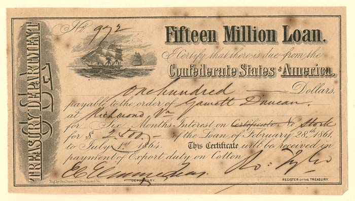 $100 Confederate States of America Bond
